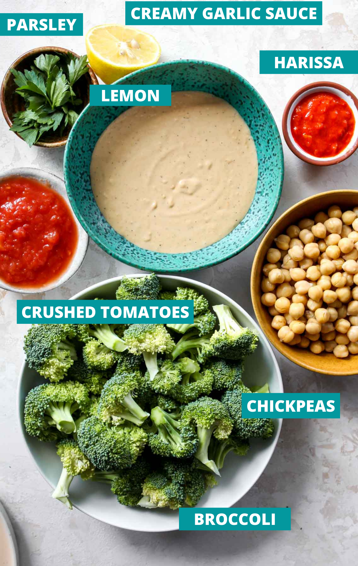 Recipe ingredients in separate bowls on a white board with blue labels
