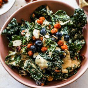 Blueberry Kale Caesar Salad with Crispy Chickpeas (Vegan)
