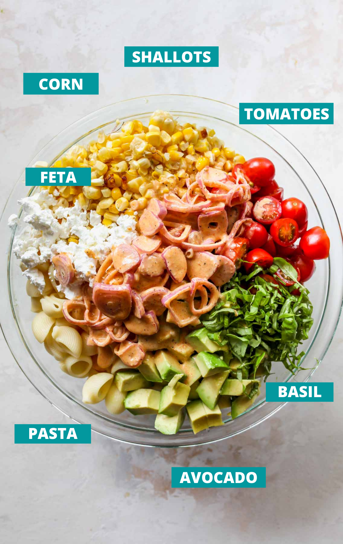 Pasta salad ingredients in a bowl with blue labels