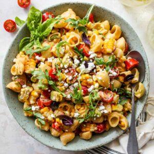 Creamy Macaroni Salad with Corn and Basil