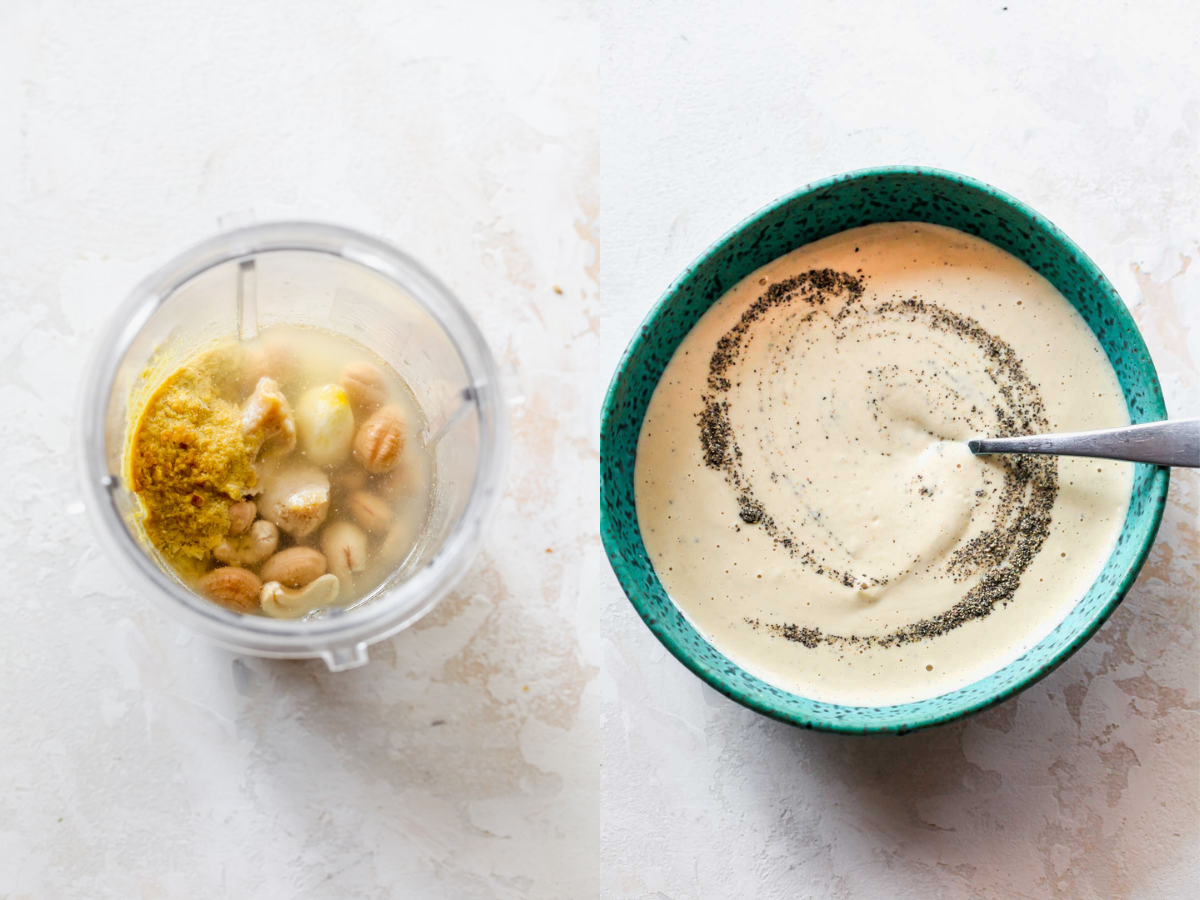 Cashews, lemon, miso, and nutritional yeast being blended and poured into a blue bowl