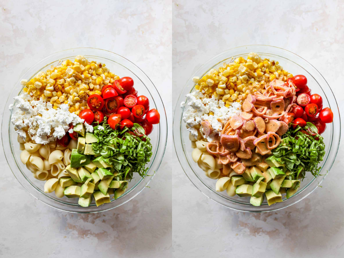 Macaroni salad ingredients being mixed together in a large bowl