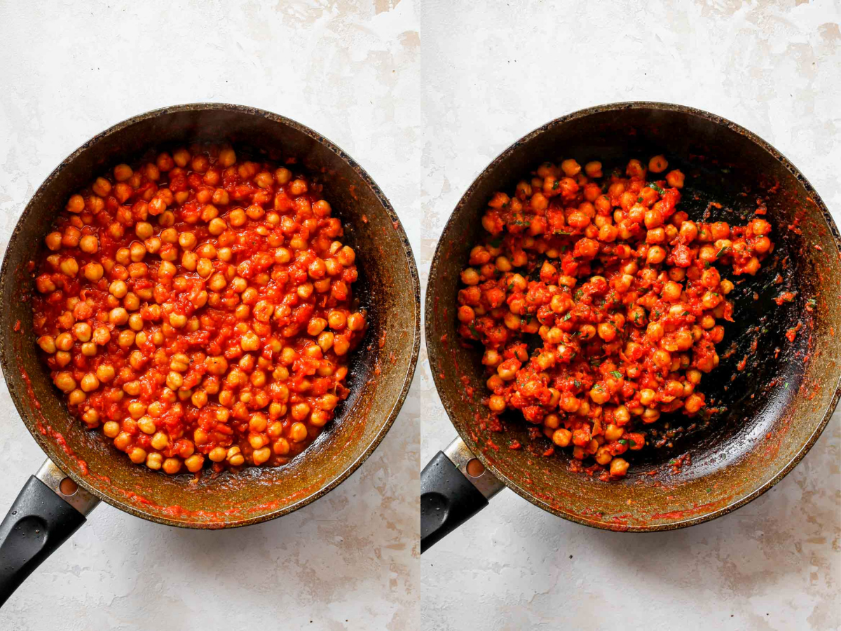 Chickpeas cooking in a skillet with harissa and crushed tomatoes