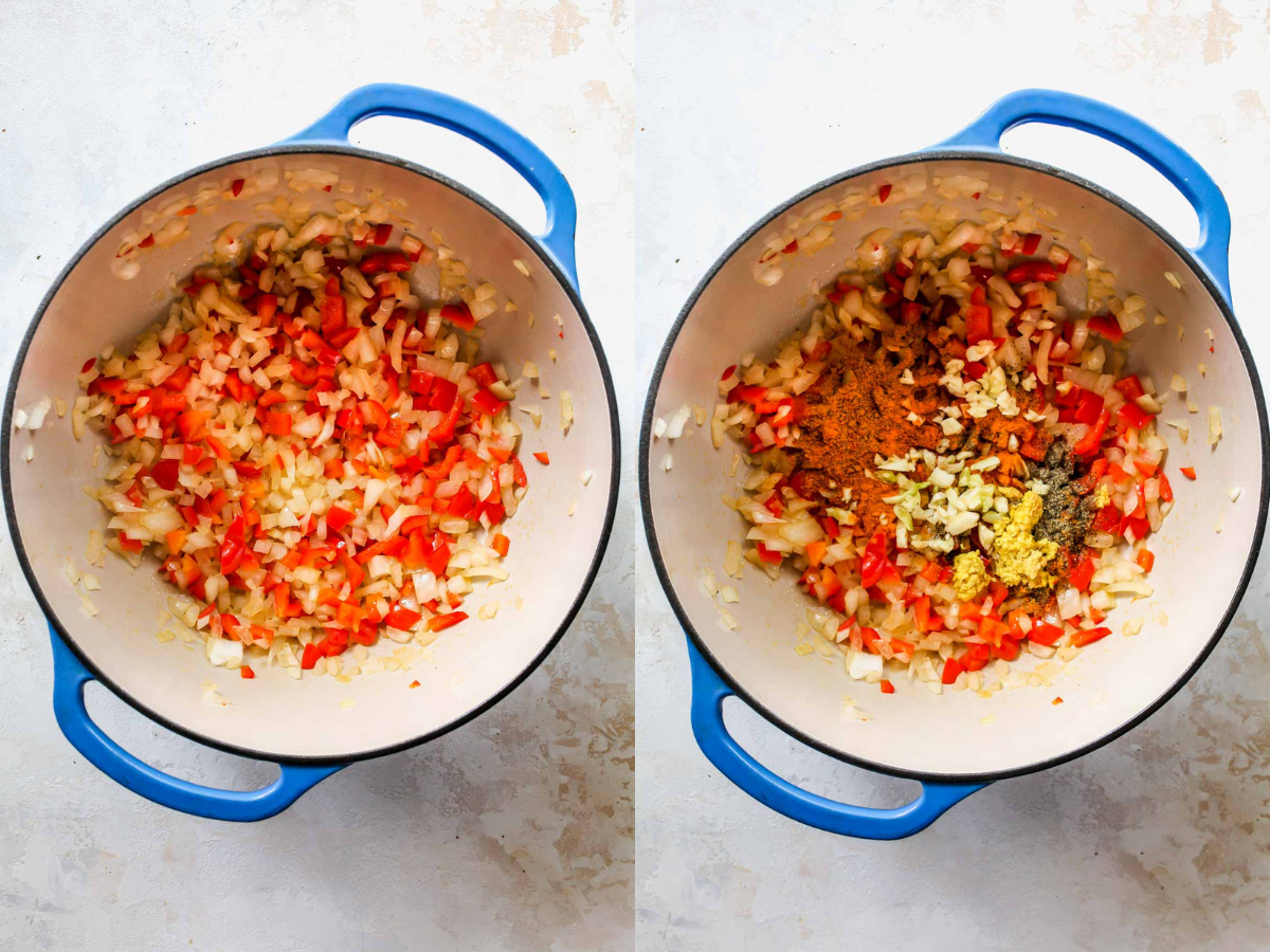 Onion, bell pepper, and spices sautéing in a pot