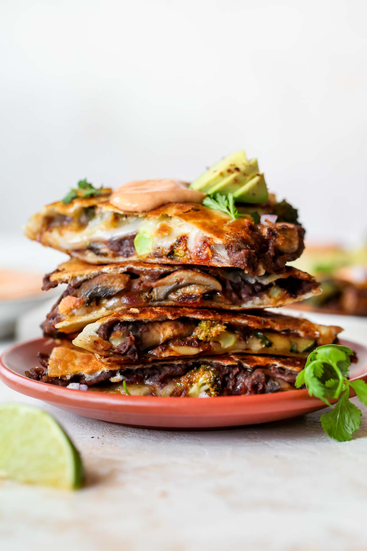 A stack of veggie quesadillas layered on a plate