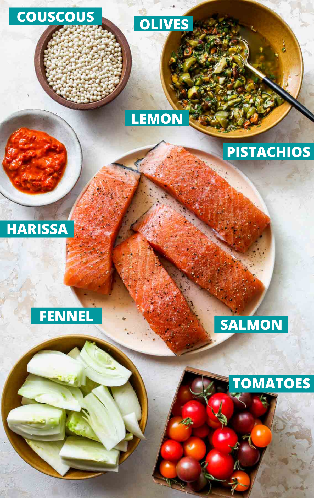Salmon skillet ingredients on a white board with blue labels