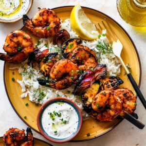 Greek-Marinated Shrimp Skewers with Creamy Lemon-Dill Sauce