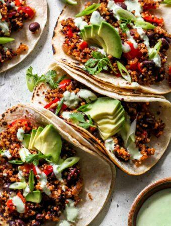 Zesty Black Bean and Quinoa Tacos with Cilantro Sauce