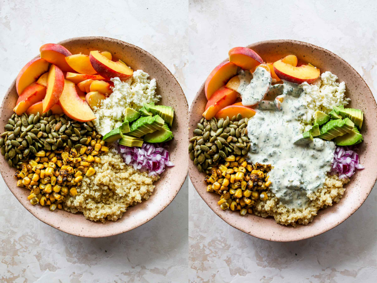 Dressing being poured over bowl of quinoa and veggies