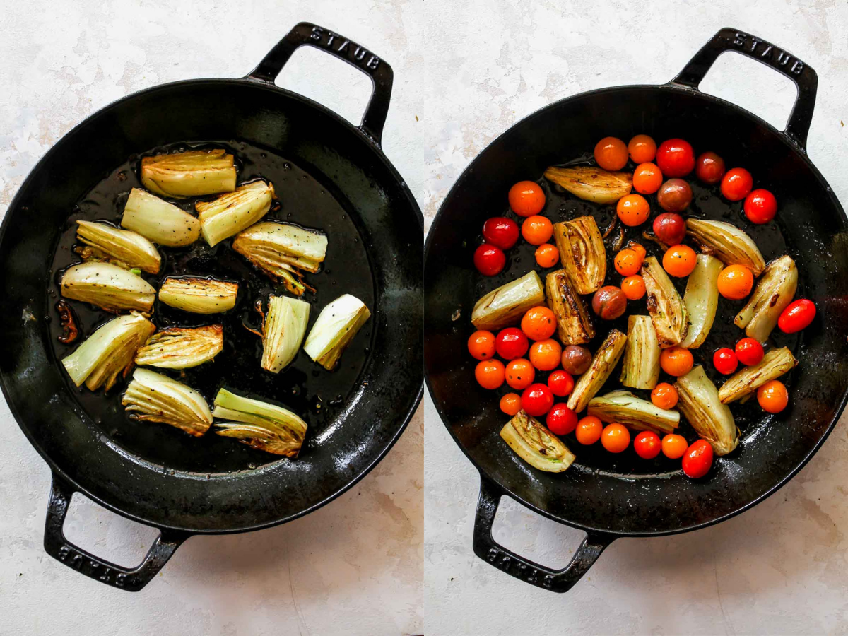 Fennel and cherry tomatoes being sautéed in a black skillet