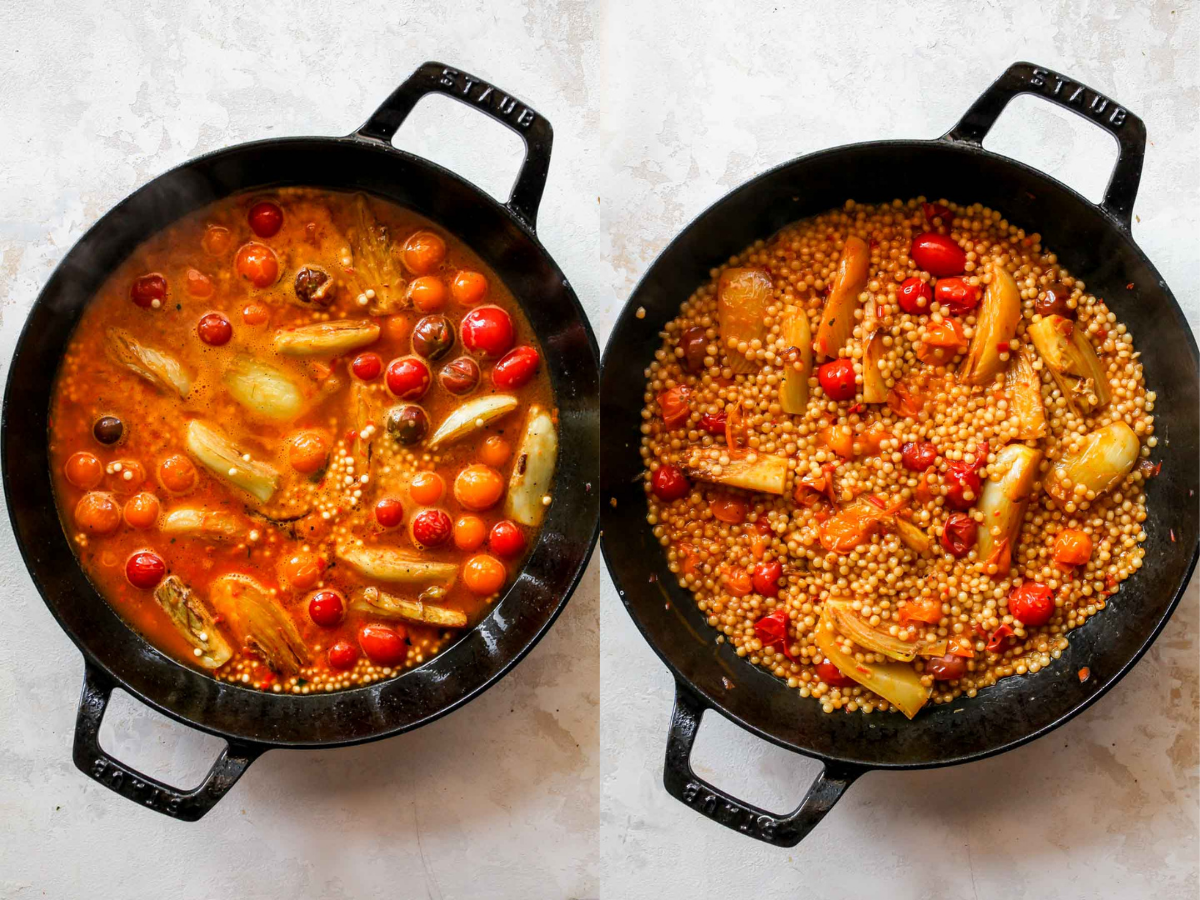 Couscous being cooked until al dente in a skillet