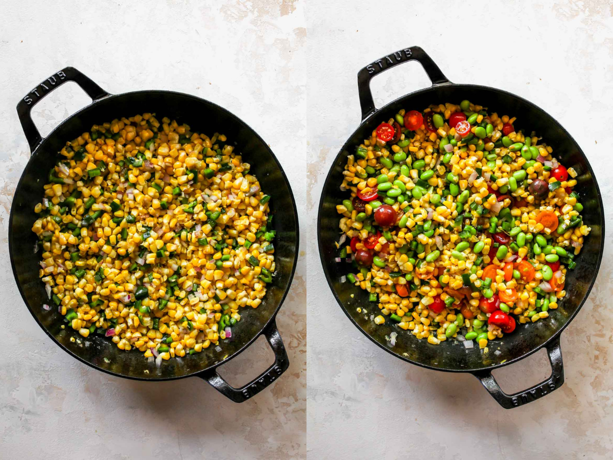 Corn, edamame, peppers, and tomatoes in a cast iron skillet