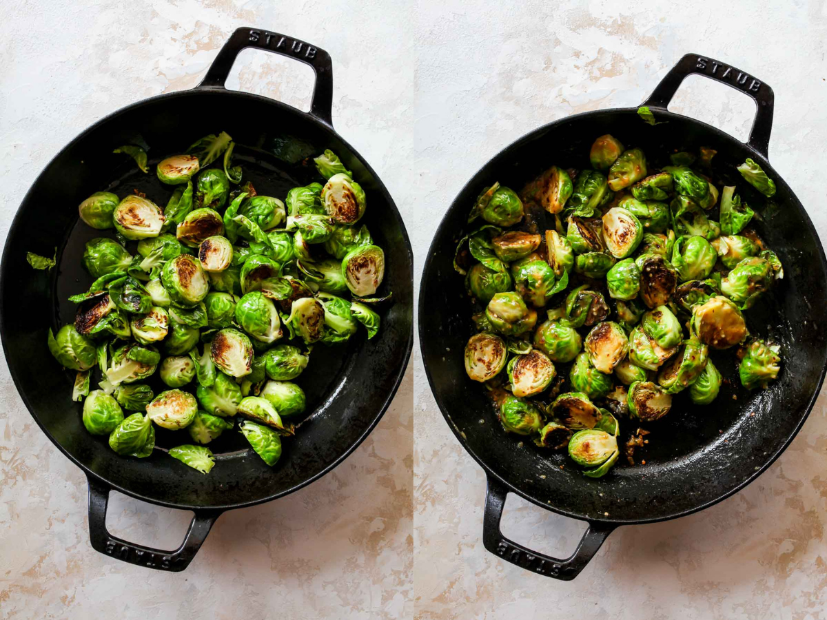 Brussels sprouts being sauteed in a cast iron skillet