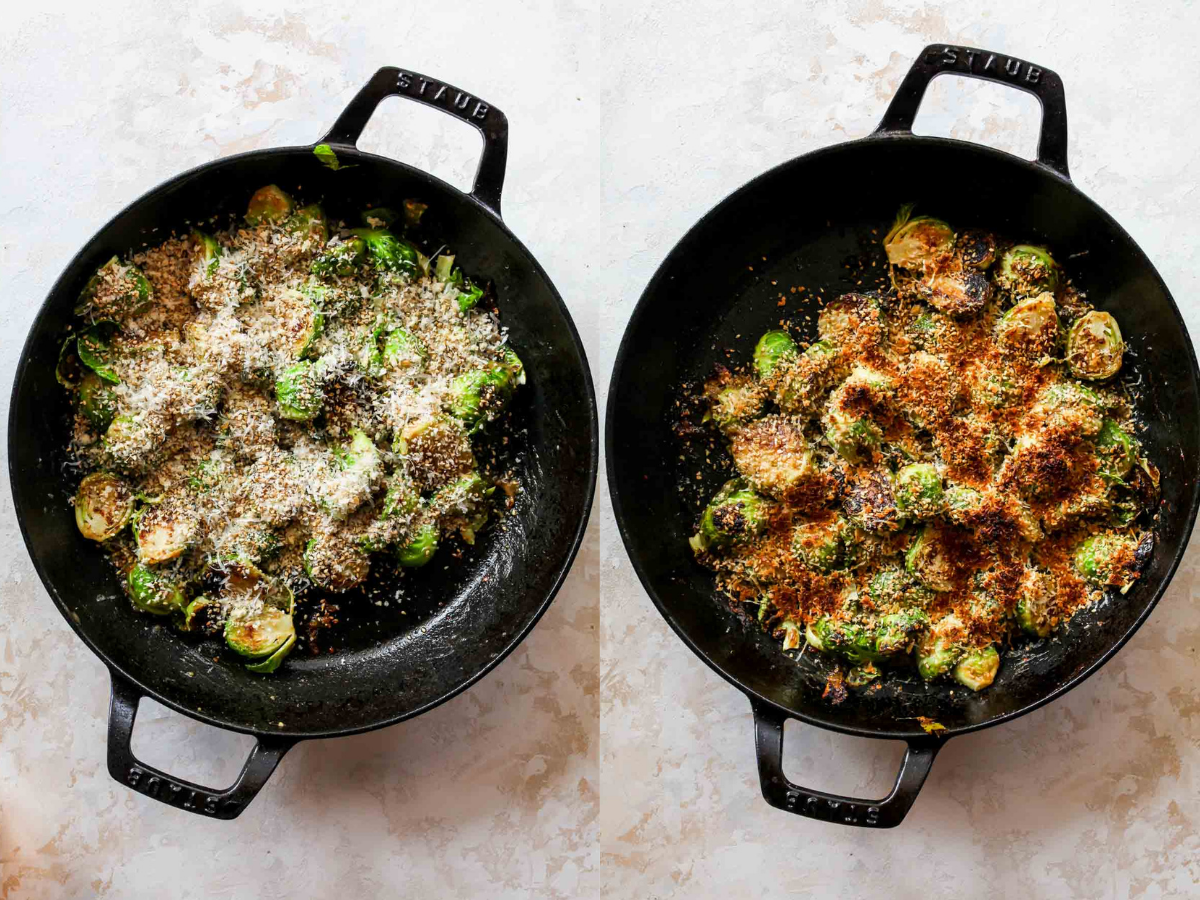 Panko-parmesan topping being added to sprouts and broiled