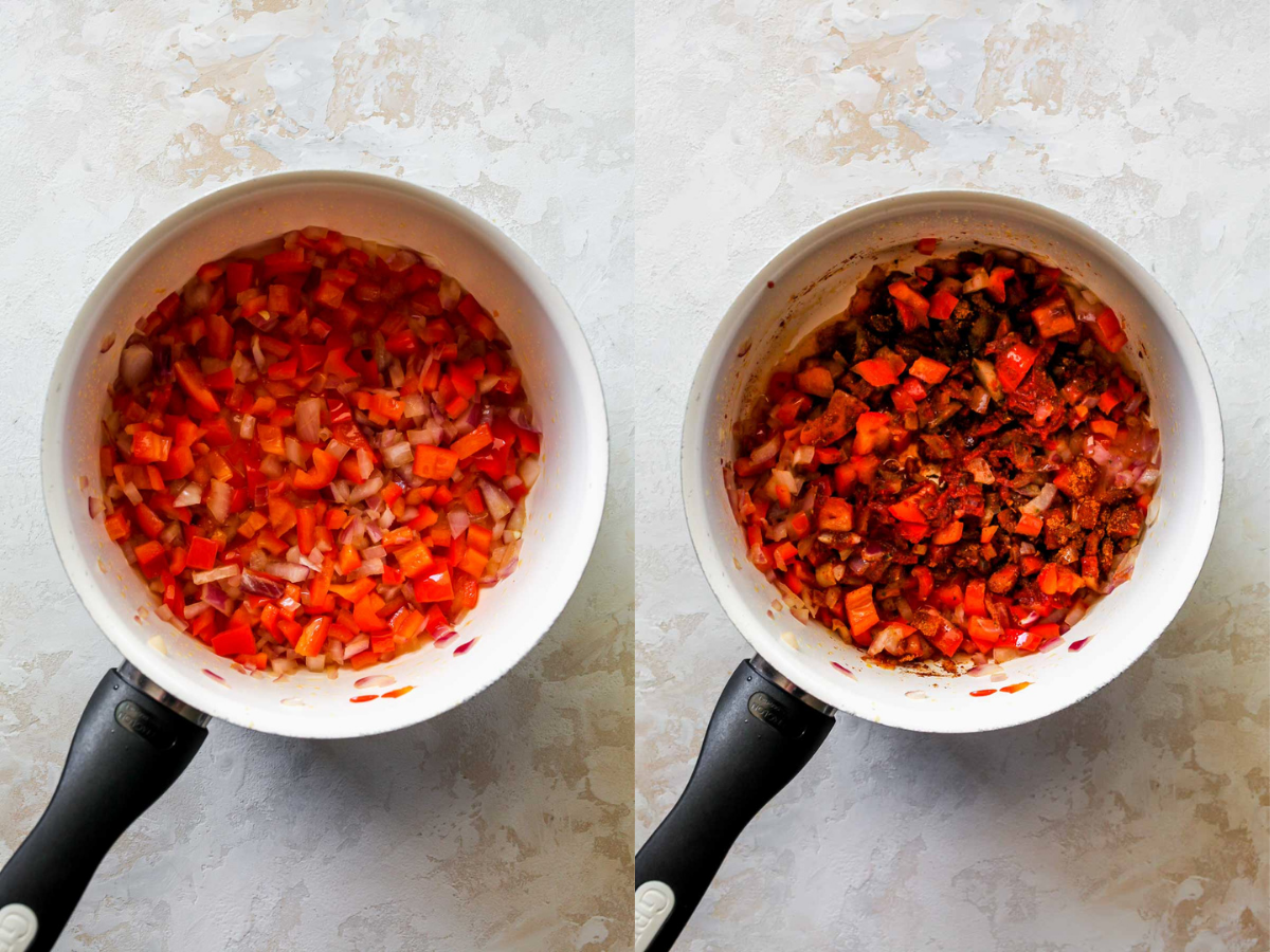 Red bell pepper, red onion, and taco seasoning cooking in a saucepan