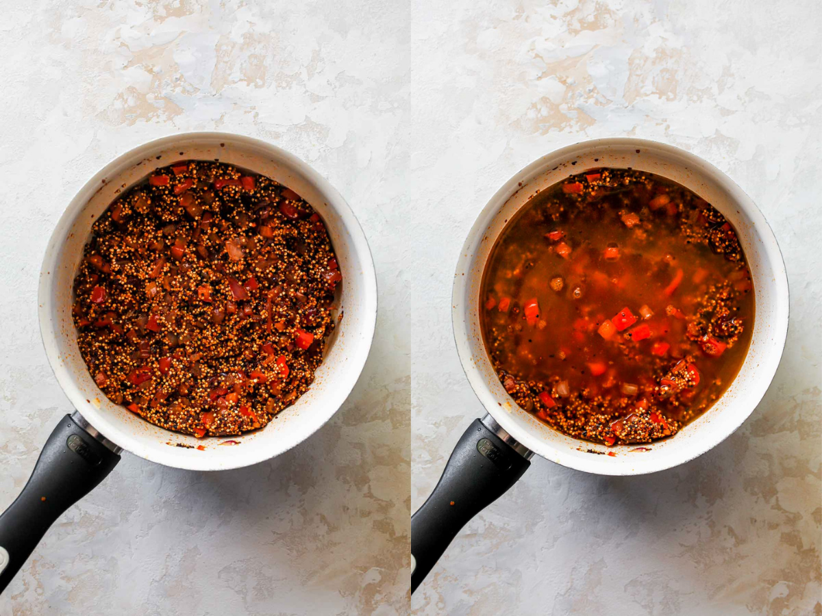 Quinoa and broth being added to a saucepan