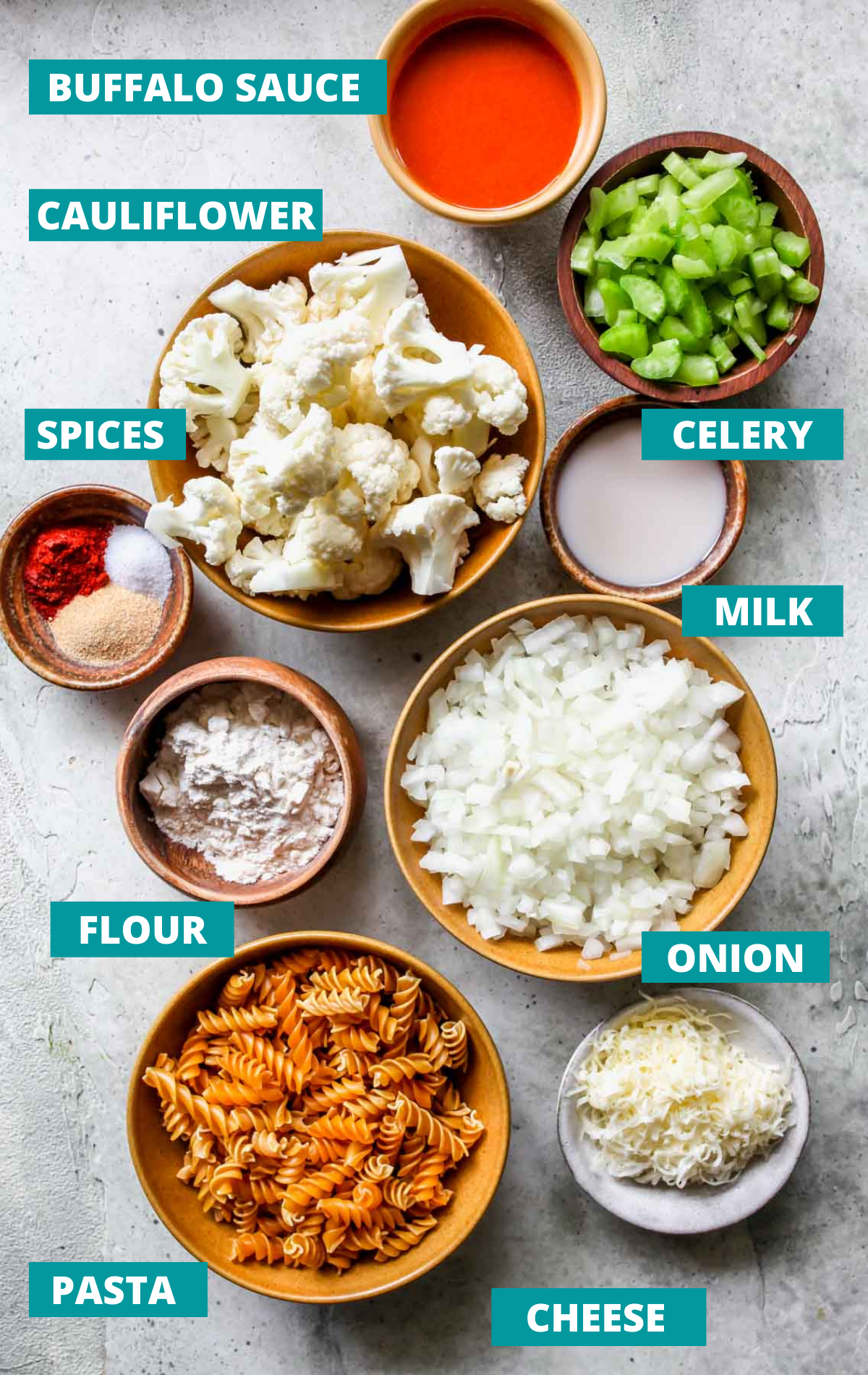 Recipe ingredients on a stone board with blue labels