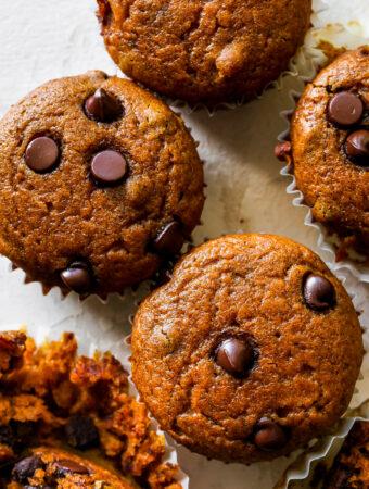 Healthy Pumpkin Chocolate Chip Muffins (Gluten Free)