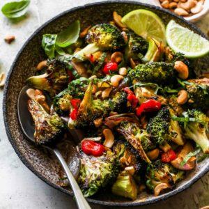 Roasted Broccoli with Chili-Garlic and Lime Sauce