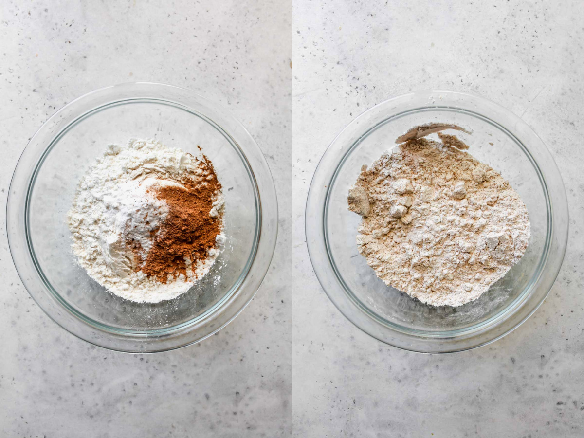 Flour, spices, and baking power being whisked in a bowl