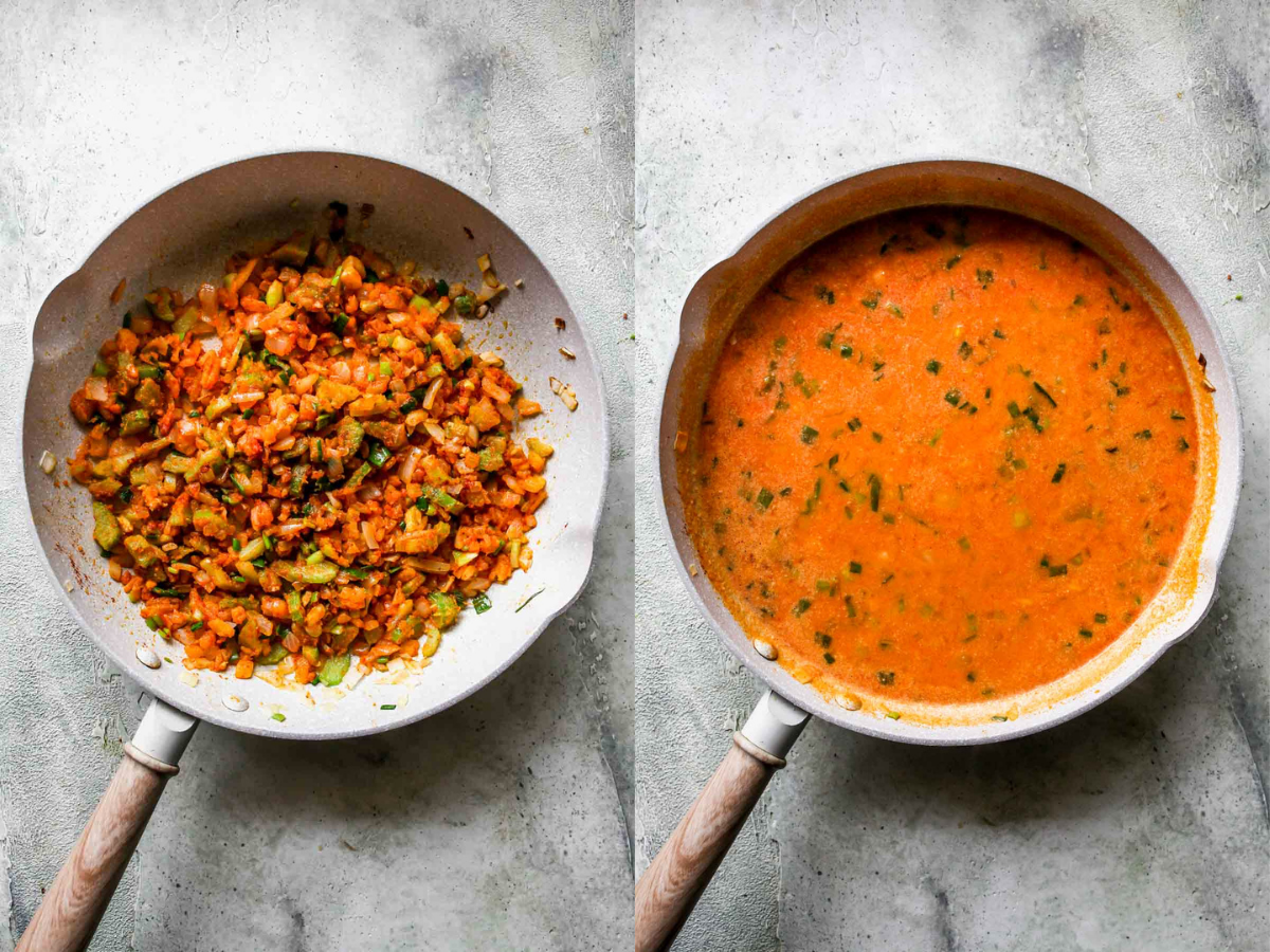 Flour, milk, and buffalo sauce being whisked in a pan
