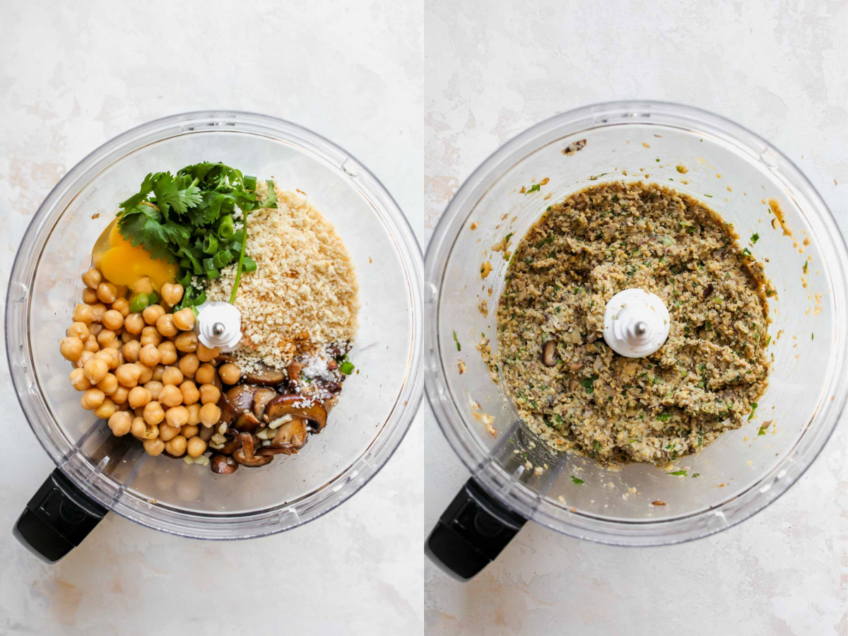 Chickpeas, mushrooms, cilantro, and spices being mixed in a food processor