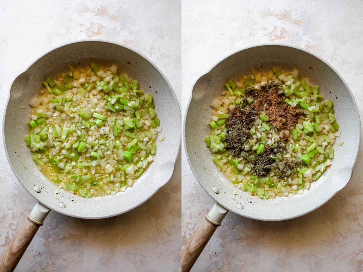 Onion, celery, and garlic being sautéed in a skillet