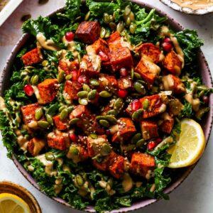Roasted Sweet Potato Kale Salad