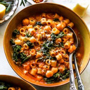 Pasta e Ceci (Italian Pasta and Chickpea Stew)