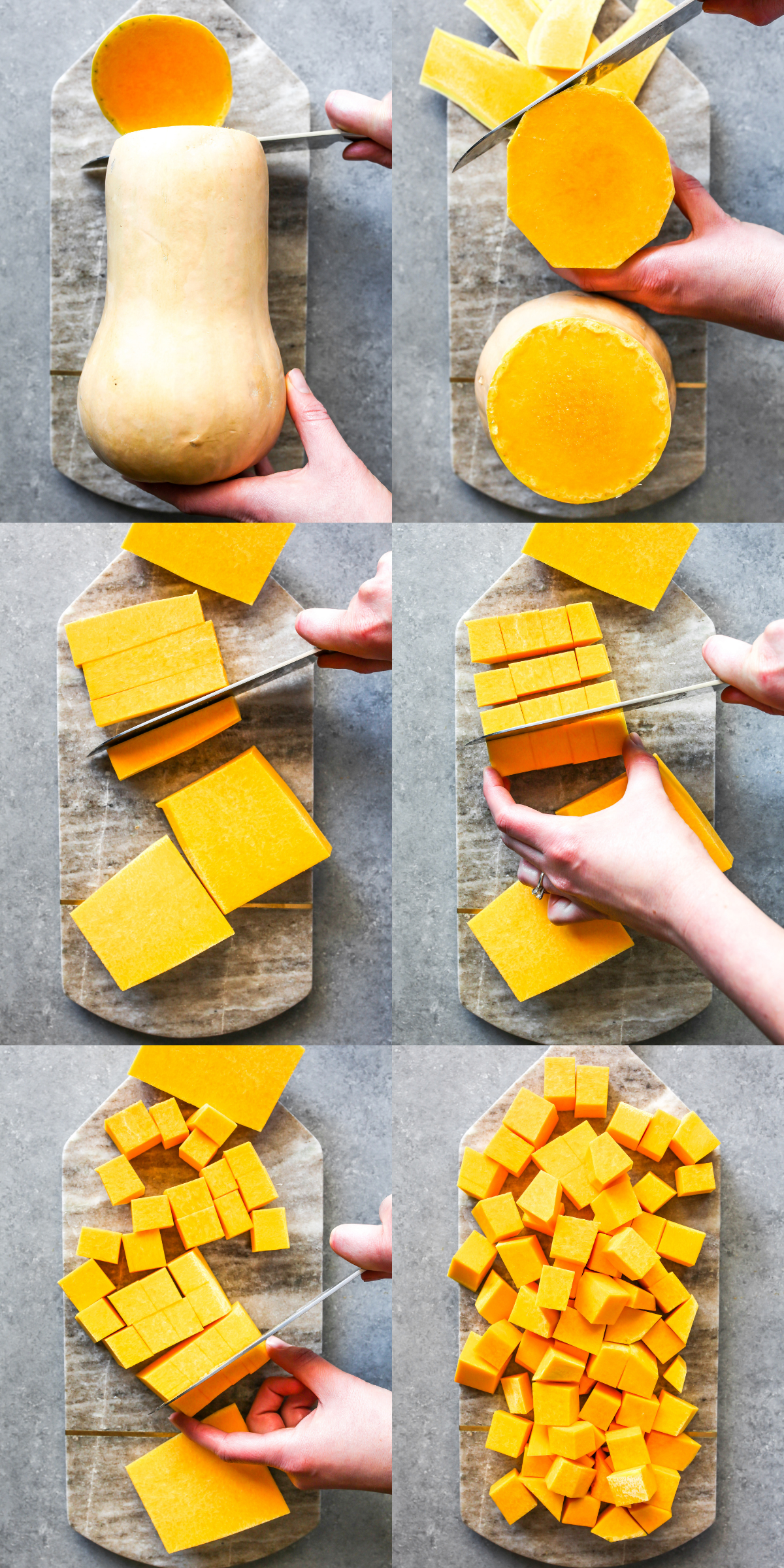 Step-by-step showing how to peel and slice a butternut squash